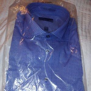 Joseph Abboud Mens Dress Shirt Sz 15.5 34-35 Blue